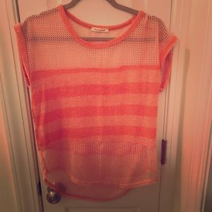 Anthropologie tea and rose knit tee peach/orange